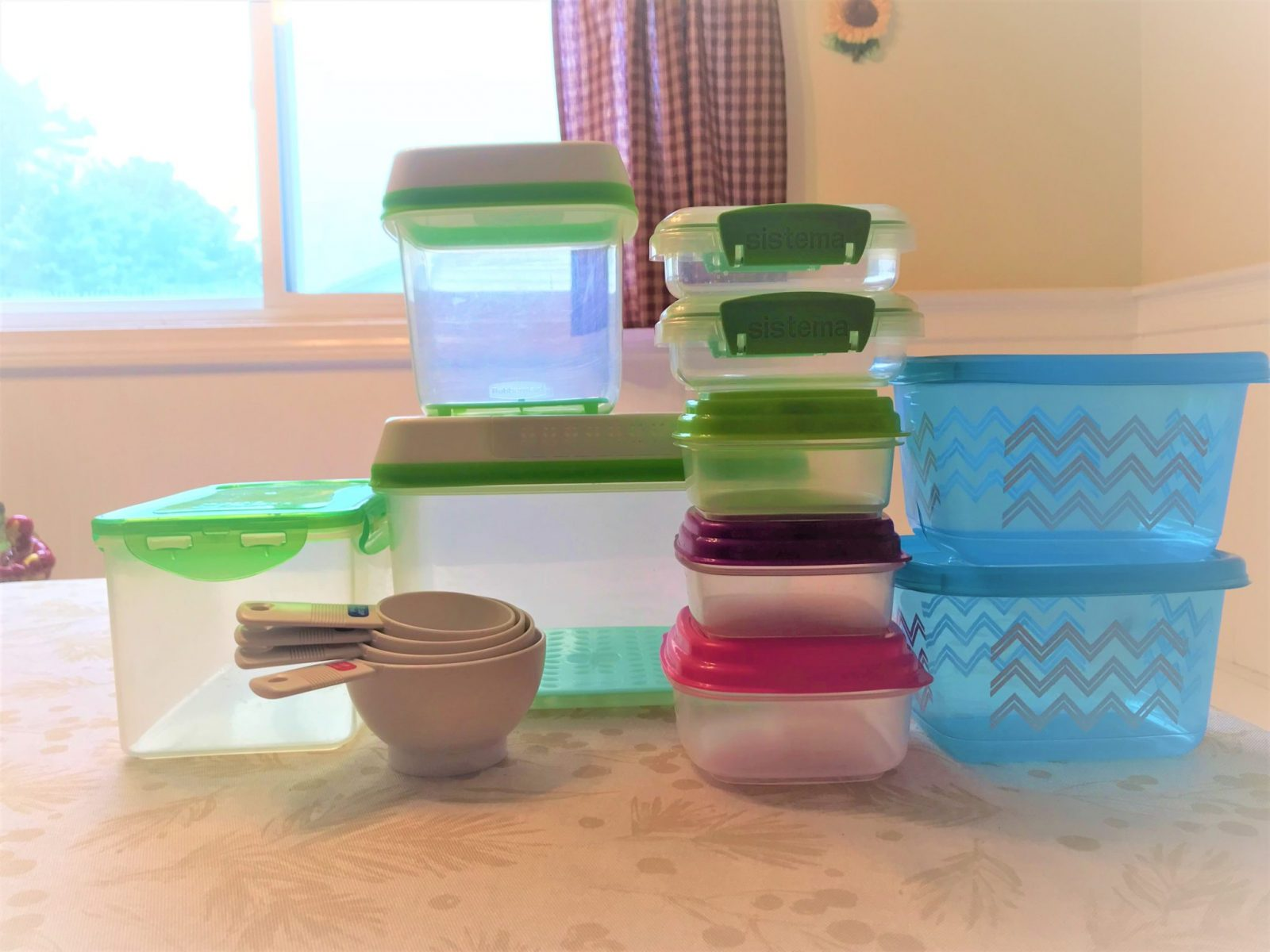 Measuring tools and food containers to help make meal prep easier
