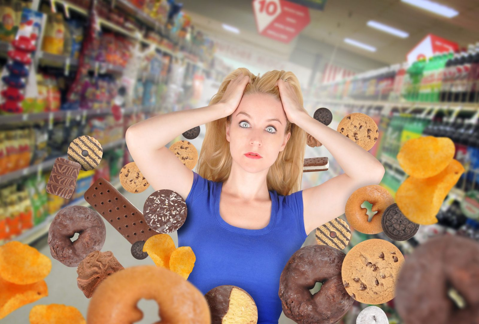 woman facing temptation of donuts and sweets while shopping in the supermarket